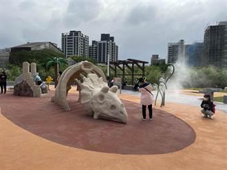 鶯歌鳳鳴「逗逗龍公園」啟用 恐龍造型水設施超吸睛