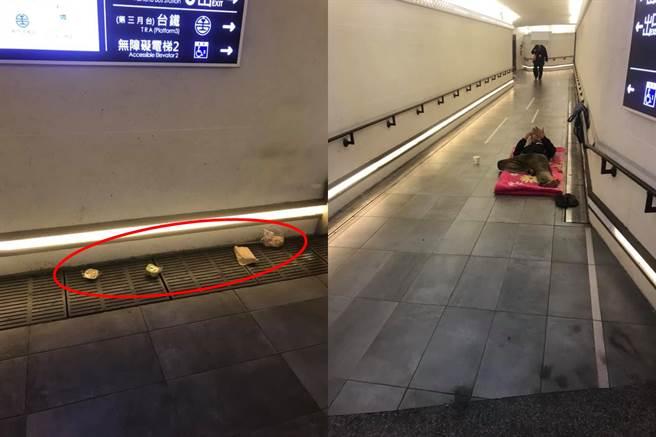 一位男網友在新竹火車站地下道中發送食物給街友,卻遇上不領情的街友將麵包丟擲在水溝蓋上,令他相當氣憤。紅圈處可見水溝蓋上散落著4個麵包。(臉書社團《新竹爆料公社》蔡網友/蘇育宣翻攝)