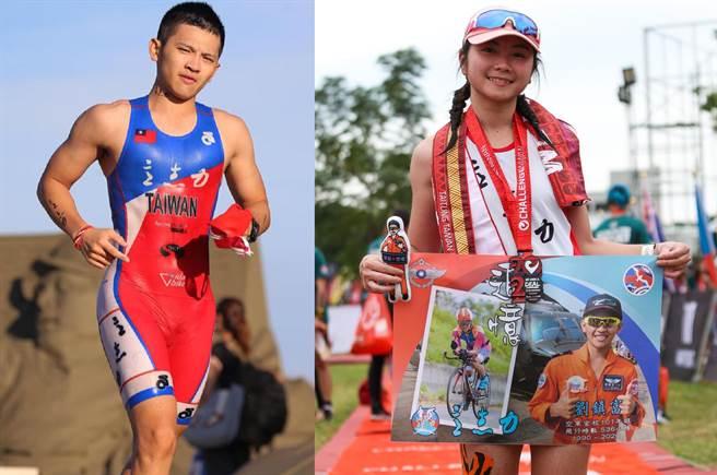 黑鷹副駕駛劉鎮富少校(左)1月殉職,妻子11月帶著他的照片挑戰鐵人三項競賽。(合成圖/摘自劉鎮富臉書、青年日報)