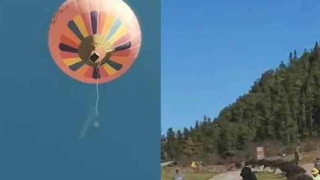 雲南騰衝火山地質公園熱氣球活動發生高空墜地死亡事故,工作人員在收回熱氣球時刮起強風,手抓繩索的工作人員來不及放手,意外地被帶至高空後墜地慘死。(圖/網路)
