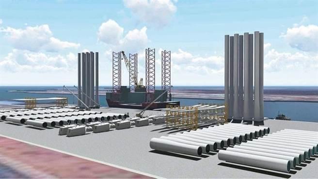(離岸風力發電零組件於106碼頭裝卸運輸模擬。圖/港務公司提供)