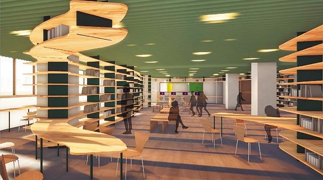 設計師以木架層板作為藏書森林,線條簡潔、通透而流暢,天花板則以綠色妝點,希望打造出森林意象的圖書館龍山分館。(新竹市政府提供/陳育賢新竹傳真)