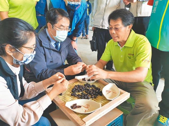 台南市長黃偉哲(中)參觀番社蔬果聯盟合作社,體驗剝龍眼肉。(劉秀芬攝)