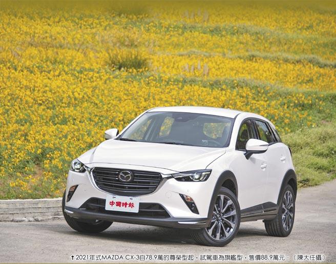 2021年式MAZDA CX-3自78.9萬的尊榮型起,試駕車為旗艦型,售價88.9萬元。(陳大任攝)