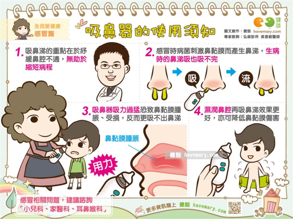 感冒期間一定要幫小孩吸鼻涕嗎?使用吸鼻器的注意事項,醫師一一提醒解答。(圖/健談提供)