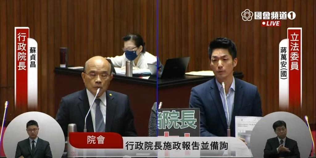 國民黨立委蔣萬安今日質詢行政院長蘇貞昌。(翻攝國會頻道)