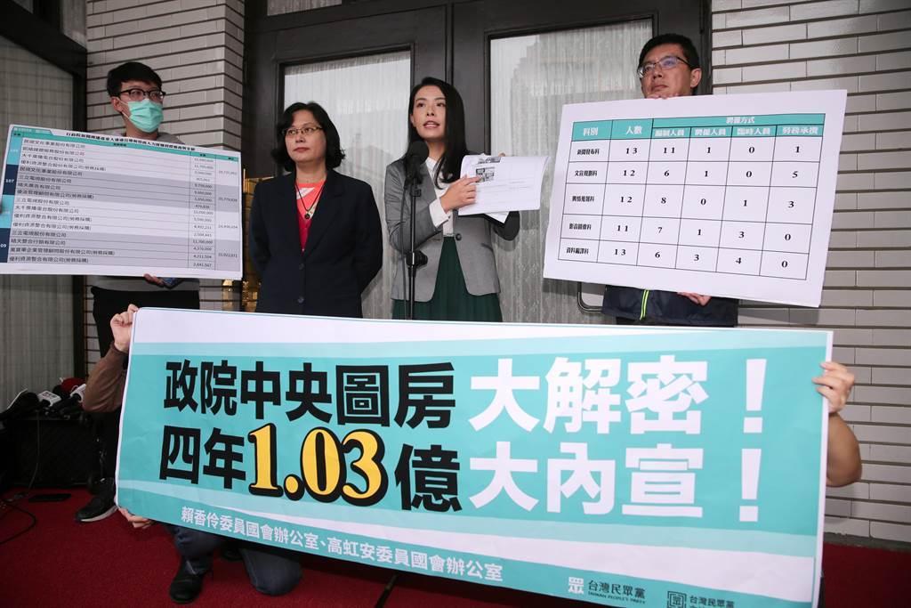 民眾黨立委高虹安(右二)、賴香伶(左二)抨擊行政院燒錢養小編、做哏圖,攻擊在野黨,明顯行政不中立。(黃世麒攝)
