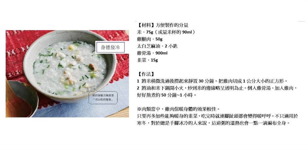藥膳師的生命力餐桌:雞肉韭菜粥。(資料來源:高寶出版提供/合成圖:梁惠明)
