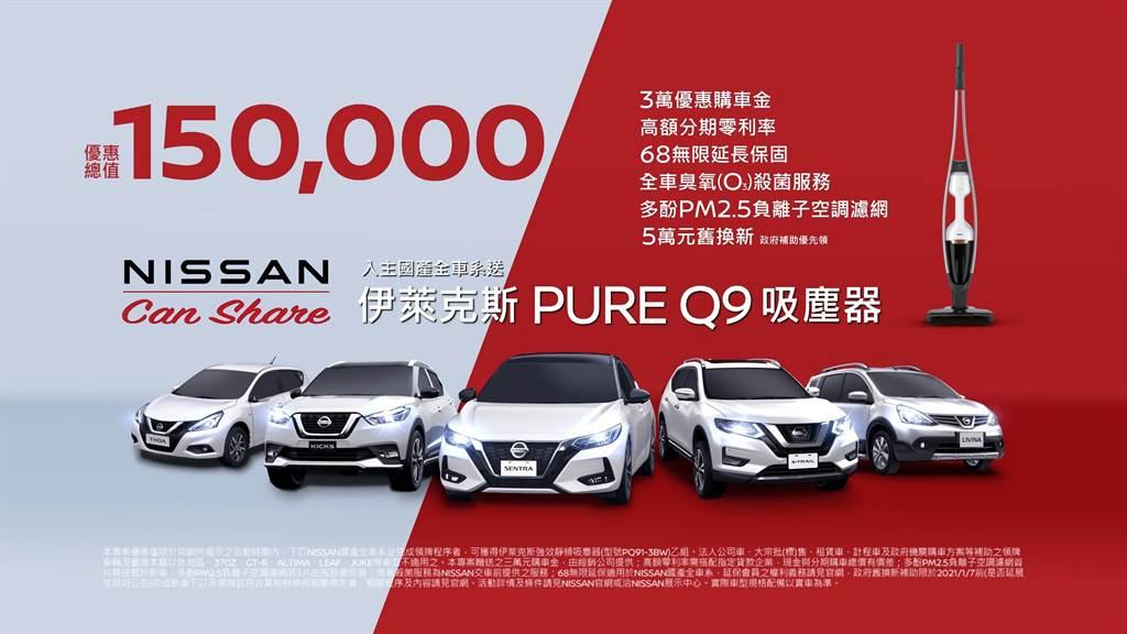 「NISSAN Can Share」限時分享嚴選精品好禮 ,最高優惠總價值達15萬元。