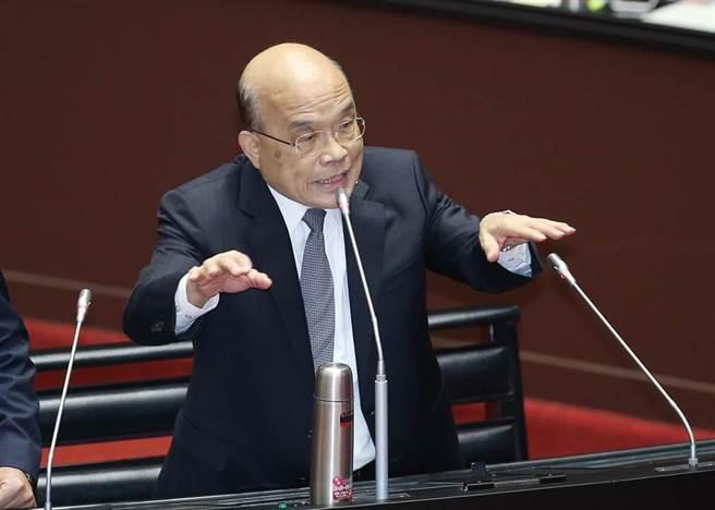 行政院長蘇貞昌1日在立法院答詢。(姚志平攝)