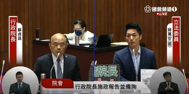 国民党立委蒋万安今日质询行政院长苏贞昌。(翻摄国会频道)