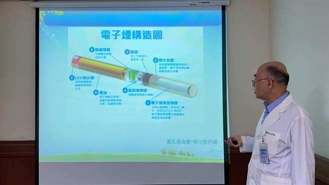 呂克桓指出,電子菸一樣會有成癮、致癌風險、肺部以及其他器官傷害甚或死亡。對於青少年來說更會影響腦部發育。不管是何種菸品皆應避免使用。(馮惠宜攝)