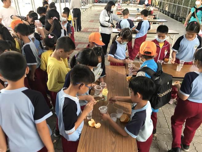 走讀公老坪戶外教育「柑橘路線」安排橘皮清潔劑製作,讓學童手作體驗。(翁子國小提供/王文吉台中傳真)