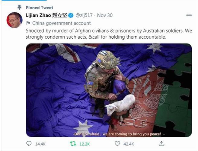 中國外交部發言人趙立堅發布的一張圖片引發莫里森的強烈不滿。(Twitter@Lijian Zhao 趙立堅)