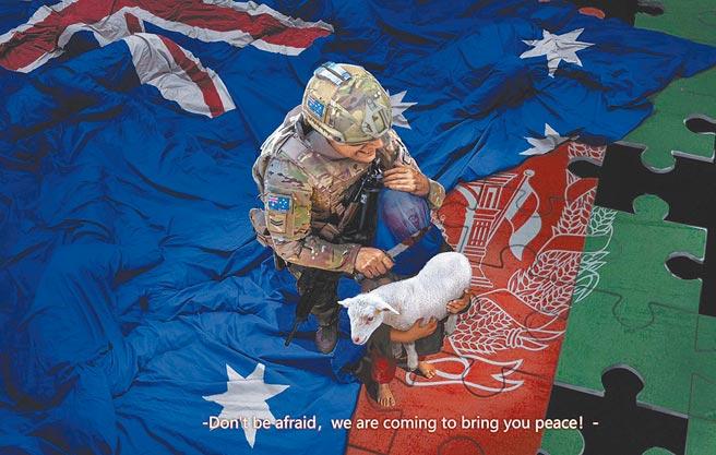 大陸外交部發言人趙立堅推特上的插畫顯示,澳洲士兵將刀架在阿富汗兒童喉嚨上。(摘自趙立堅推特)