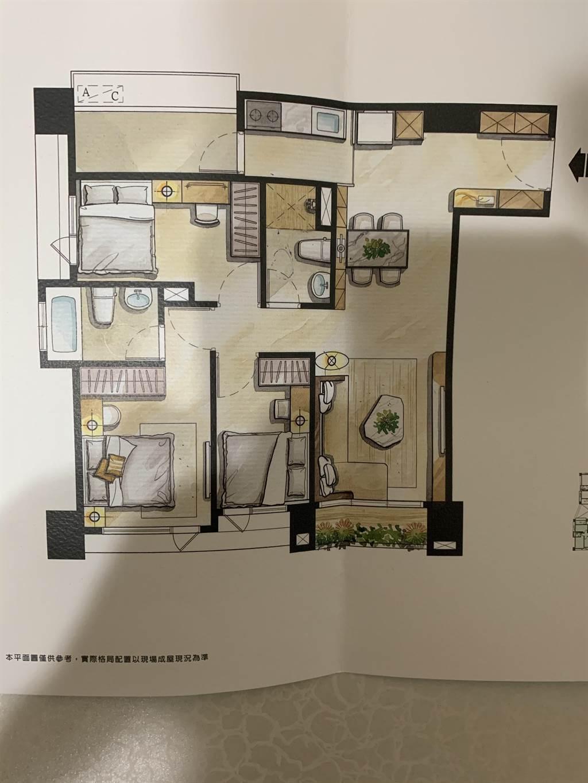原PO本詢問過網友意見後,要下訂正3房,圖為3房平面配置圖。(圖/翻攝自PTT)