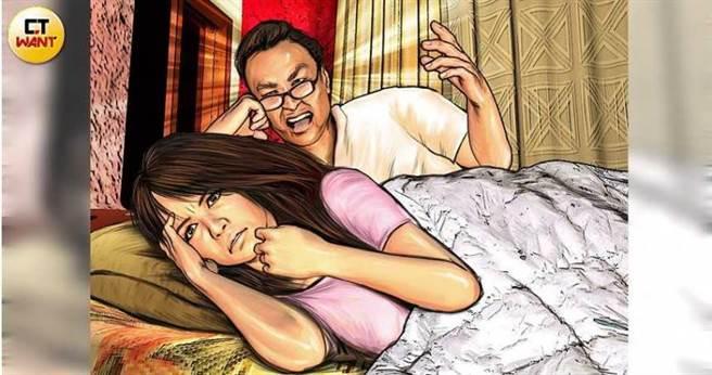 陳男每晚不斷藉由疲勞轟炸來要求琳琳拿錢投資他,常常一講就講到清晨,琳琳不堪其擾,只好拿錢給陳男當業績。(圖/本刊繪圖組)