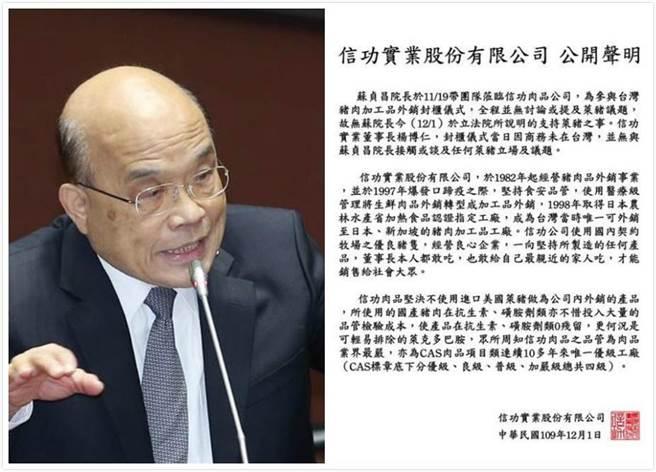 行政院長蘇貞昌稱「信功實業肉品公司」支持萊豬政策,當晚確遭到該公司發聲明稿打臉駁斥。(中時資料照)