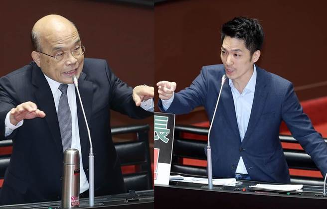 國民黨數次杯葛院會後,行政院長蘇貞昌(左)1日終於站上備詢台,藍委蔣萬安為萊豬議題,狂轟蘇貞昌。(合成圖/姚志平攝)