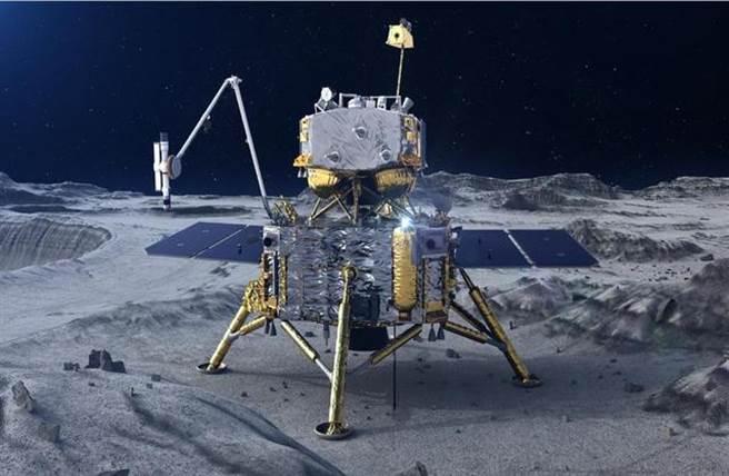 嫦娥5號在月表的概念圖,它將採集月球土壤再返回。(圖/CNSA)