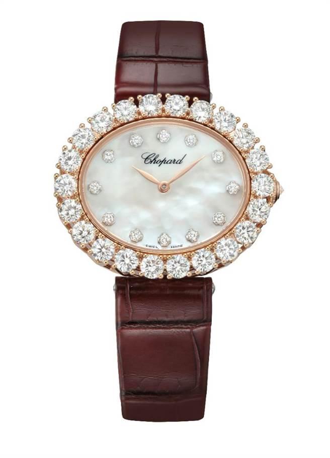 蕭邦L'Heure du Diamant鑽表,公平採礦認證玫瑰金表殼,表圈共鑲嵌4.38克拉鑽石,175萬元。(CHOPARD提供)