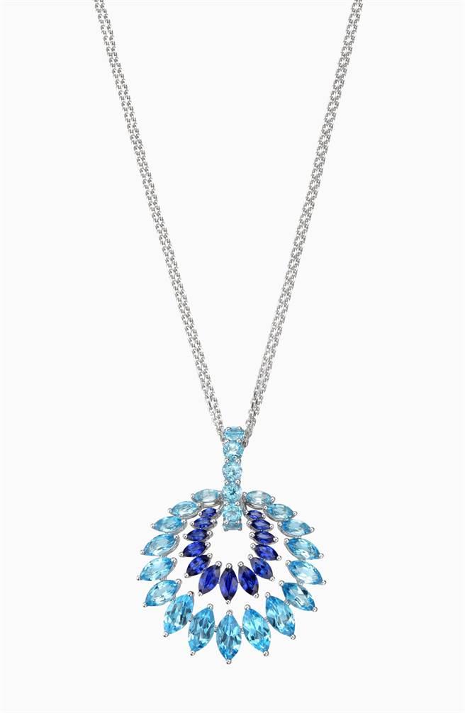 蕭邦拓帕石藍寶石項鍊,公平採礦認證白金打造,121萬。( CHOPARD提供)