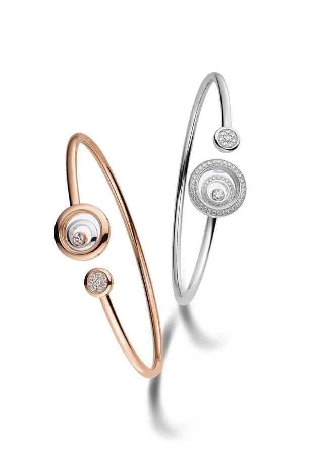 蕭邦Happy Spirit手環,公平採礦認證玫瑰金與白金,含滑動鑽石,15萬1000元(玫瑰金款)和27萬5000元(白金款)。( CHOPARD提供)
