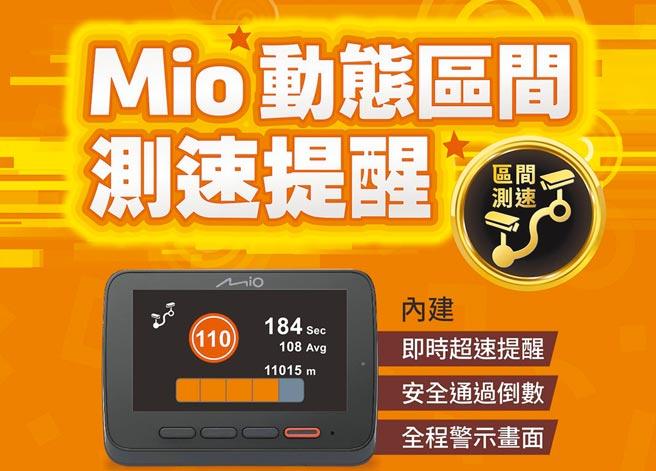 Mio即日起MiVue 8系列產品搭載「動態區間測速照相提醒功能」,民眾可到資訊月會場來體驗不一樣的安全守護。圖/Mio提供