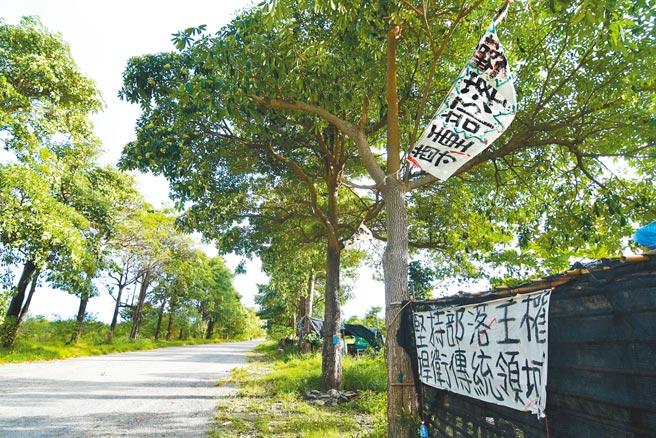 卡大地布部落族人在知本溼地入口處懸掛白布條,要求尊重部落主權。(莊哲權攝)