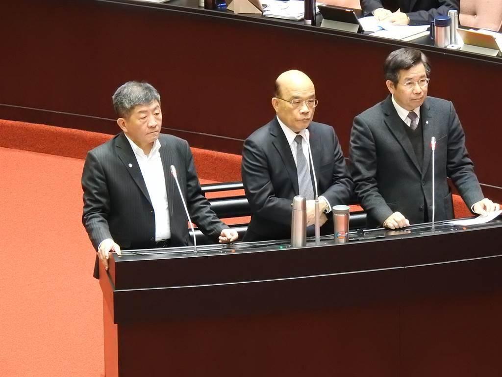 行政院長蘇貞昌率行政官員到立法院質詢。(趙婉淳攝)