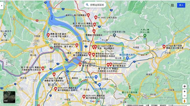 苏一峰在脸书PO出Google地图照片,发现双北地区就有18家商店卖电子烟,而且更多是私底下贩售。(翻摄自 苏一峰FB)