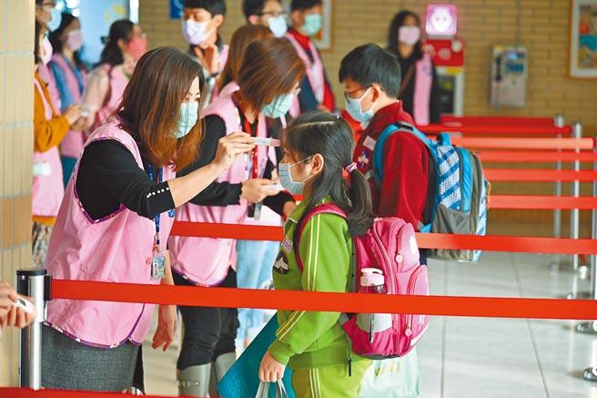 新北市要求進入校園要戴口罩,持續推動「三級防護」、「健康五原則」確保師生健康。(教育局提供/葉德正新北傳真)