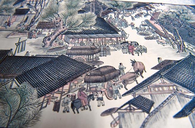 《清明上河圖》特寫中可看出畫中的長桌凳。(新華社資料照片)