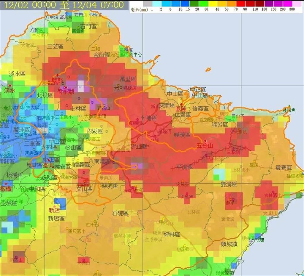 鄭明典分享雨量圖,解釋南港、汐止經常有雨的原因。(中央氣象局提供)