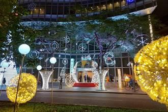 仁愛圓環亮起來 台新巨型聖誕樹點燈了