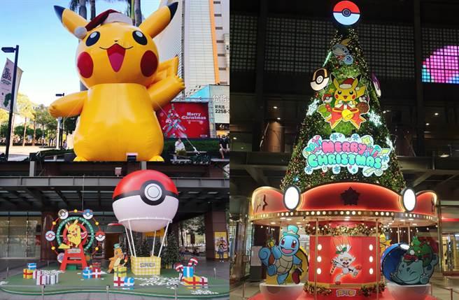 「寶可夢的遊園盛會」有高達6公尺耶誕版巨型皮卡丘、寶可夢旋轉木馬耶誕樹、摩天輪及精靈球熱氣球。(圖/品牌提供)