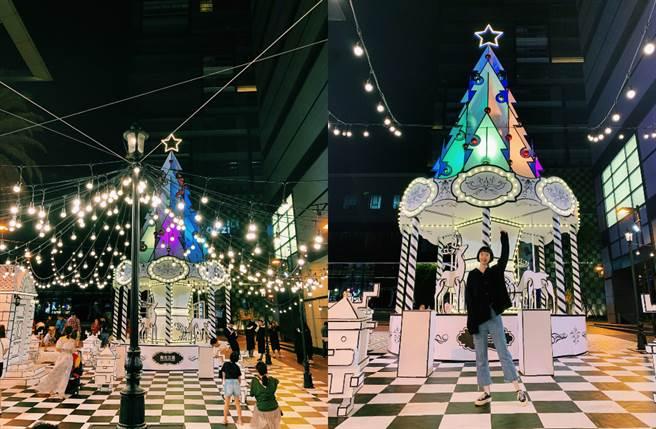 台南新天地推出全台首創2D超現實的耶誕景點,讓人一踏進去彷彿掉進2D世界中的「Walking In White 白色耶誕」。(圖/品牌提供)