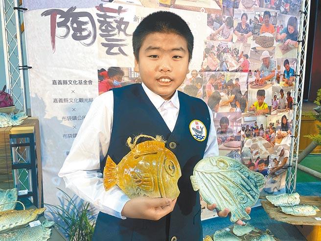 新塭國小五年級學生吳守白一圓上陶藝課夢想。(張亦惠攝)
