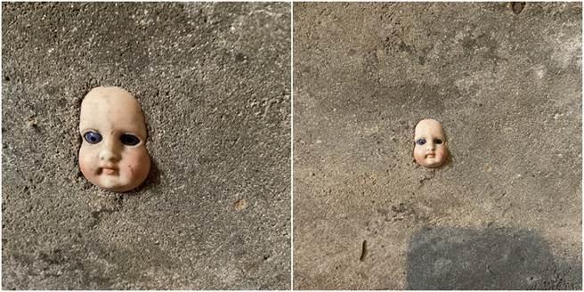 新家驚見洋娃娃頭埋在牆上,乍看之下十分詭異。(圖/翻攝自推特@missjellinsky)