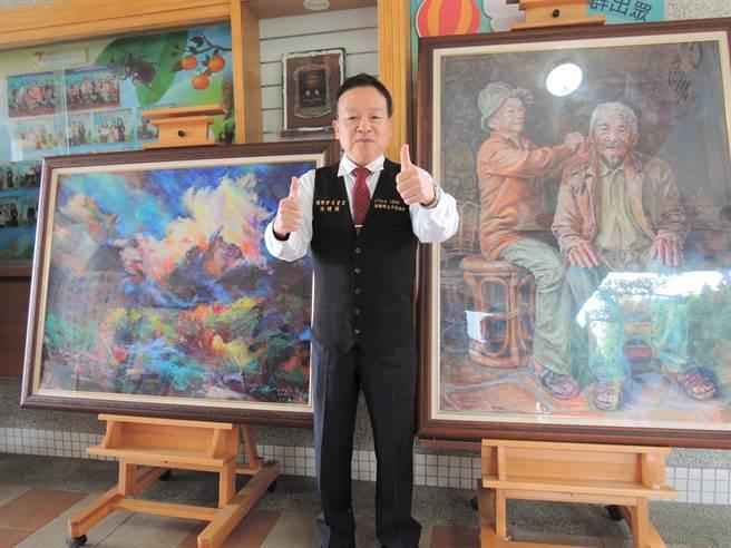 法國藝術家獨立沙龍國際會員陳明順到母校,展出8幅不同創作風格的油畫。(張毓翎攝)