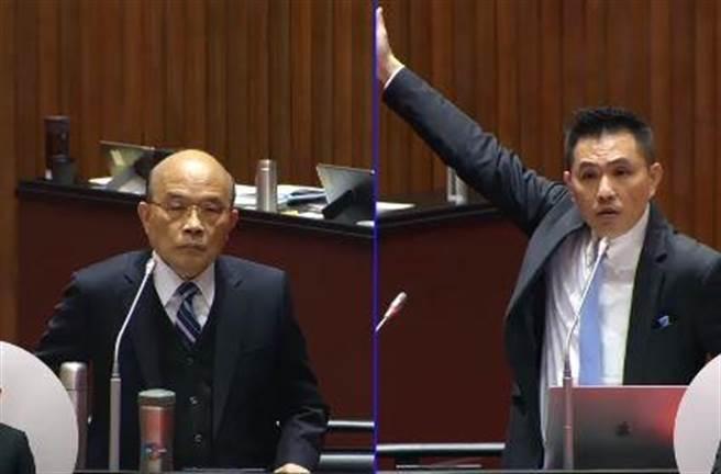 立委陳以信質詢行政院院長蘇貞昌。(取自立法院議事轉播)