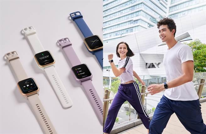 智慧腕錶搭載超完整運動功能及全天候健康監測支援,亦推出多款配色讓錶主能輕鬆兼具日常穿搭造型。(圖/品牌提供)