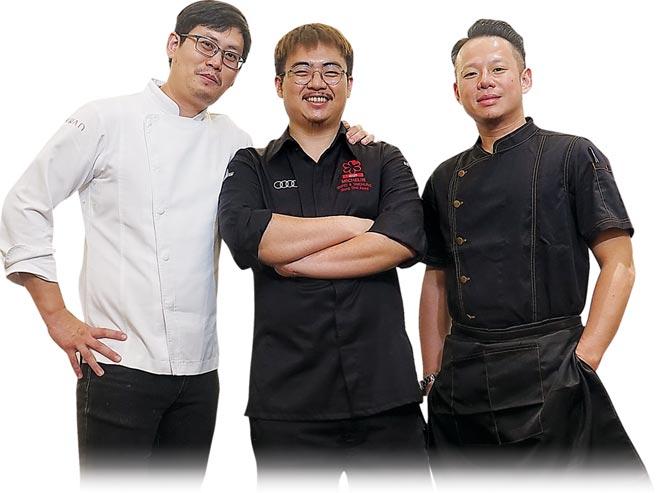 ˙「六手聯烹驚炭宴」是由〈MIRAWAN〉主廚Josh鄭裕錞(左起)、〈俺達的肉屋〉主廚Sam鍾佳憲,以及台中〈鳥苑〉主廚Tommy湯仲鴻聯手演繹。圖/姚舜