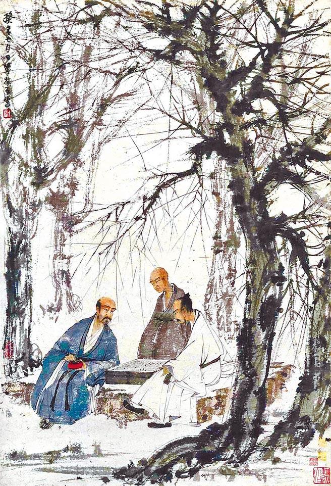 傅抱石作品《對弈圖》,描繪文人雅士下棋時的專注神情。(中新社)