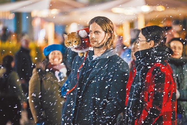 路克索德威再度回鍋與橘貓Bob拍電影,共度耶誕節。(采昌國際多媒體提供)