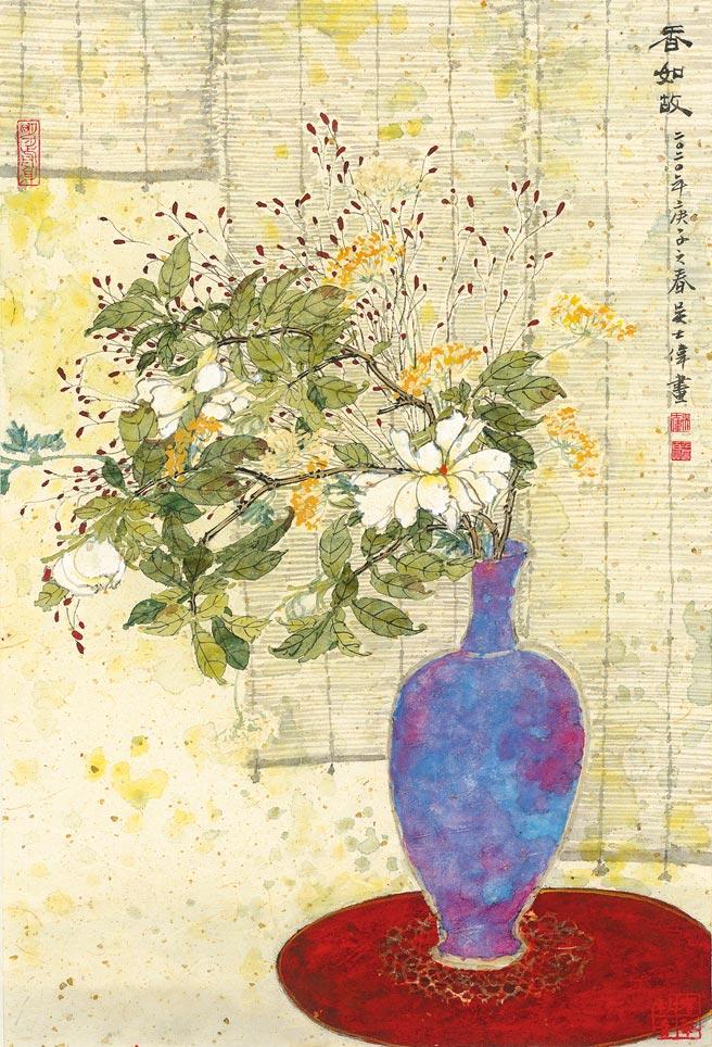 吳士偉,《香如故》,水墨設色紙本,46×31.5cm,2020年。(吳士偉提供)
