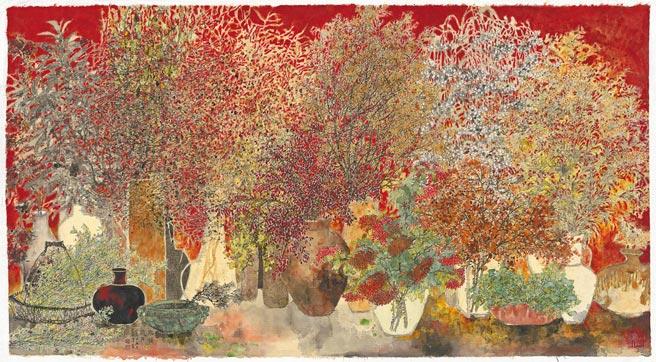 吳士偉,《無關歲月》,水墨設色紙本,78×142cm,2019年。(吳士偉提供)