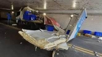 嘉義民雄物流貨車硬闖地下道 車廂與車頭分離