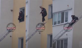 從8樓窗跳雲梯車 他卻滑出軌道墜落慘死