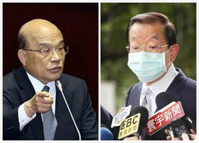 駐日代表謝長廷(右)回國後拋出日本核食的議題,對此,行政院長蘇貞昌(左)表示謝與行政院尚未進行討論。(中時資料照)